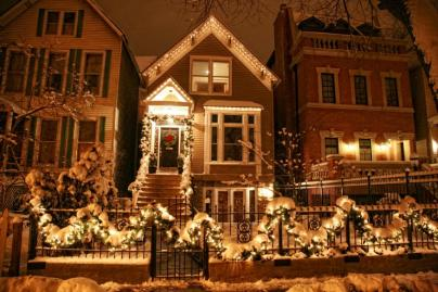 Holiday Lights Fence Chicago Home Winter