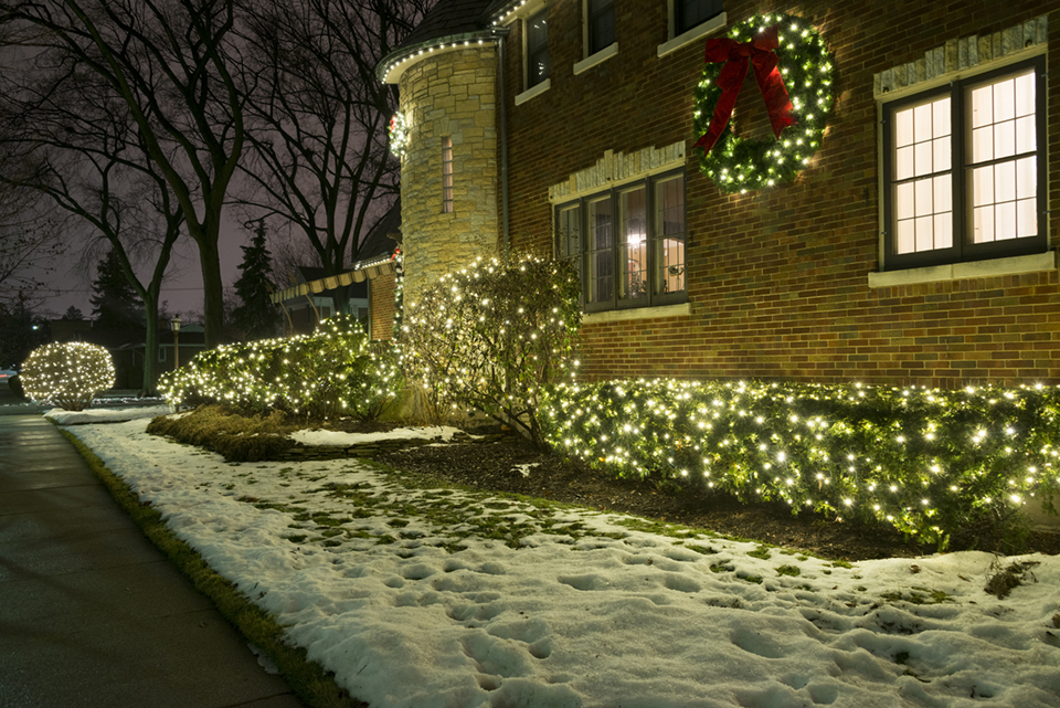Holiday Lighting Chicago Homes Professional Bushes